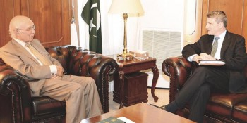 Islamabad: 19th May - The adviser to the Prime Minister on National Security and Foreign Affairs in meeting with U.S.  Special Representative for Afghanistan and Pakistan (SRAP) Daniel Feldman on Tuesday. - DNA Photo