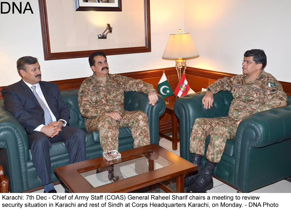 Karachi: 7th Dec - Chief of Army Staff (COAS) General Raheel Sharif chairs a meeting to review  security situation in Karachi and rest of Sindh at Corps Headquarters Karachi, on Monday. - DNA Photo