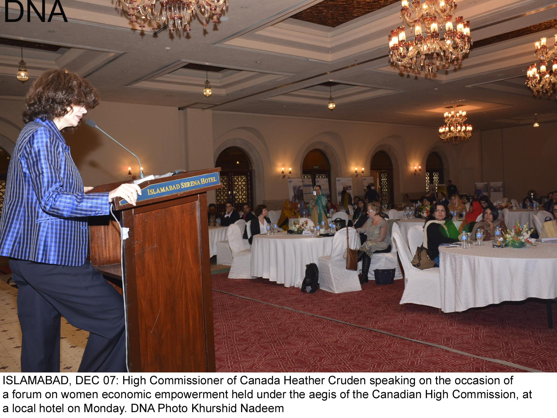 ISLAMABAD, DEC 07: High Commissioner of Canada Heather Cruden speaking on the occasion of  a forum on women economic empowerment held under the aegis of the Canadian High Commission, at a local hotel on Monday. DNA Photo Khurshid Nadeem