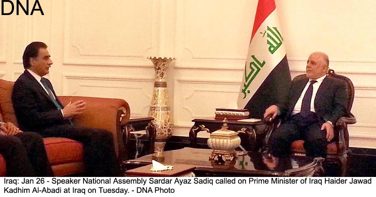 Iraq: Jan 26 - Speaker National Assembly Sardar Ayaz Sadiq called on Prime Minister of Iraq Haider Jawad  Kadhim Al-Abadi at Iraq on Tuesday. - DNA Photo