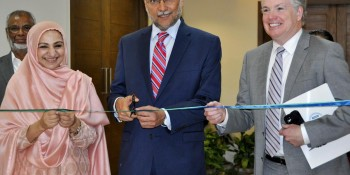 Islamabad: 20th April - Minister of State for National Health Services, Regulations, and Coordination Saira  Afzal Tarar, Minister of Planning, Development, and Reforms Ahsan Iqbal, and USAID Mission Director  John Groarke cutting the ribbon to inaugurate refurbished office space for the Health Planning, Systems  Strengthening and Information Analysis Unit at the Ministry of Health Islamabad on Wednesday. - DNA Photo