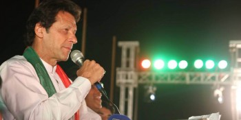 Islamabad: 24th April - PTI Chairman Imran Khan speaks to the participate of 20th anniversary of PTI's  foundation day celebrations at F-9 Park. - DNA Photo