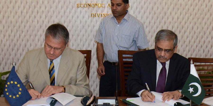 Islamabad: 29th June - Tariq Bajwa, Secretary, Economic Affairs Division, Government of Pakistan and  Stefano Gatto, Charge'd' Affaires of the European Union signing agreements in Islamabad on Wednesday.  - DNA Photo