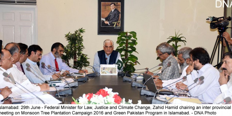 Islamabad: 29th June - Federal Minister for Law, Justice and Climate Change, Zahid Hamid chairing an inter provincial  meeting on Monsoon Tree Plantation Campaign 2016 and Green Pakistan Program in Islamabad. - DNA Photo