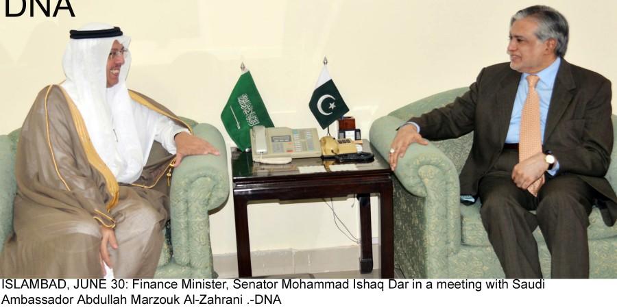 ISLAMBAD, JUNE 30: Finance Minister, Senator Mohammad Ishaq Dar in a meeting with Saudi  Ambassador Abdullah Marzouk Al-Zahrani .-DNA