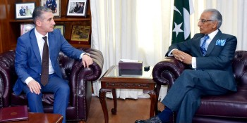 AMBASSADOR-DESIGNATE OF AZERBAIJAN MR. ALI ALIZADA PAID HIS FIRST COURTESY CALL ON THE SPECIAL ASSISTANT TO THE PRIME MINISTER ON FOREIGN AFFAIRS SYED TARIQ FATEMI IN ISLAMABAD ON JULY 4, 2016.
