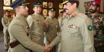 ABBOTTABAD, OCT 10: Chief of Army Staff General Raheel Sharif shakes hand with an  officer duirng his visit to Pakistan Military Academy Kakul. DNA PHOTO