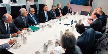 WASHINGTON, APR 11: Finance Minister Asad Umar and his team holding talks with World Bank officials. DNA PHOTO