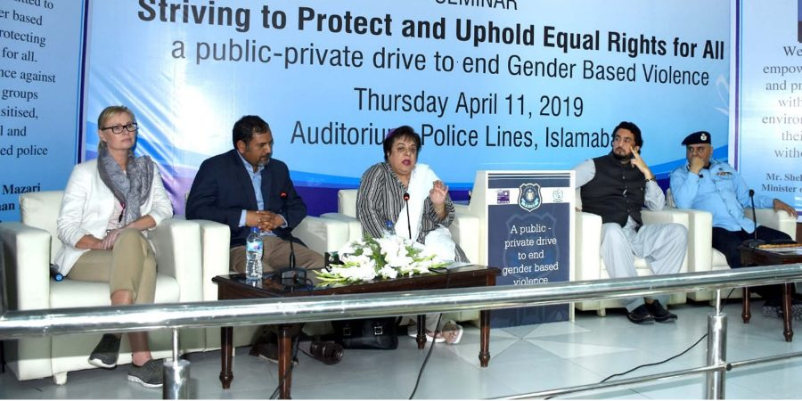 """ISLAMABAD, APR 11: Human Rights Minister Dr Shireen Mazari addressing the seminar on  """"Striving to Protect and Uphold Equal Rights for All: A public-private drive to end gender based  violence"""" here in Islamabad =DNA"""