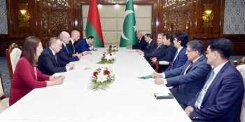 Prime Minister Imran Khan meets President of Belarus Alexander Lukashenko on the sidelines of the Council of Heads of State of Shanghai Cooperation Organization (SCO) meeting in Bishkek, Kyrgyzstan on June 14, 2019.