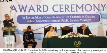ISLAMABAD, JUN 20: President Arif Alvi speaking on the occasion of a ceremony arranged to distribute awards among CEOs of TV channels, on Thursday.=DNA PHOTO