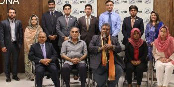ISLAMABAD, JUNE 18: Members of media delegation from Maldives in a group photo with Brig. (R) Mehboob Qadir, Director Research at IPRI and others during a reception hosted by IPRI.=DNA PHOTO