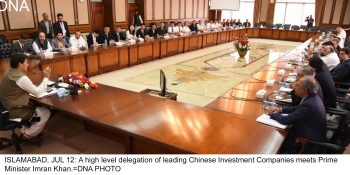 ISLAMABAD, JUL 12: A high level delegation of leading Chinese Investment Companies meets Prime Minister Imran Khan.=DNA PHOTO