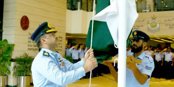 flag hoisting on Independence Day