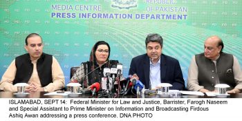ISLAMABAD, SEPT 14:  Federal Minister for Law and Justice, Barrister, Farogh Naseem and Special Assistant to Prime Minister on Information and Broadcasting Firdous Ashiq Awan addressing a press conference. DNA PHOTO