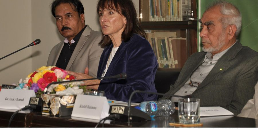 ISLAMABAD, OCT 31: Tamara Sonn, Professor of History of Islam at Edmund A. Walsh School of Foreign Service, Georgetown University, Washington DC speaking at a seminar, on Thursday.=DNA PHOTO