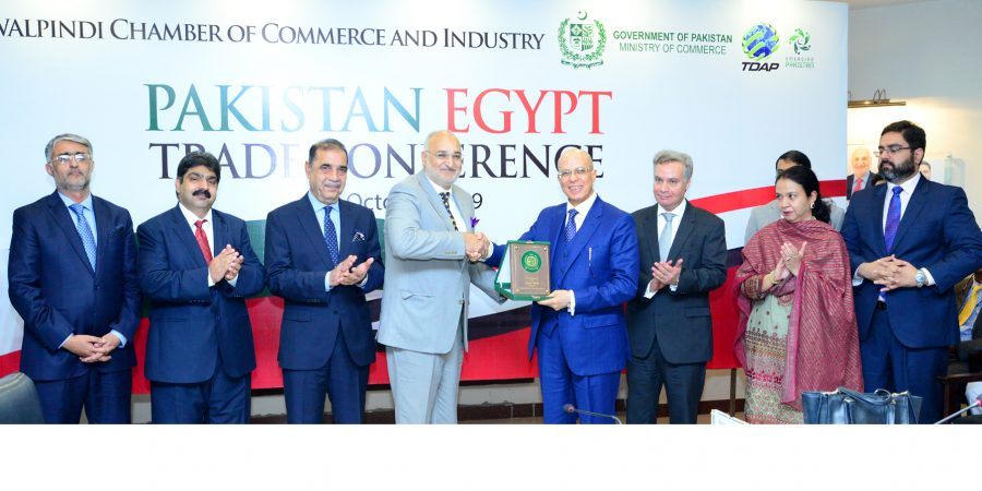RCCI President Saboor Malik Presenting memento to Egypt envoy Ahmed Fadel Yacob during his visit to the chamber.