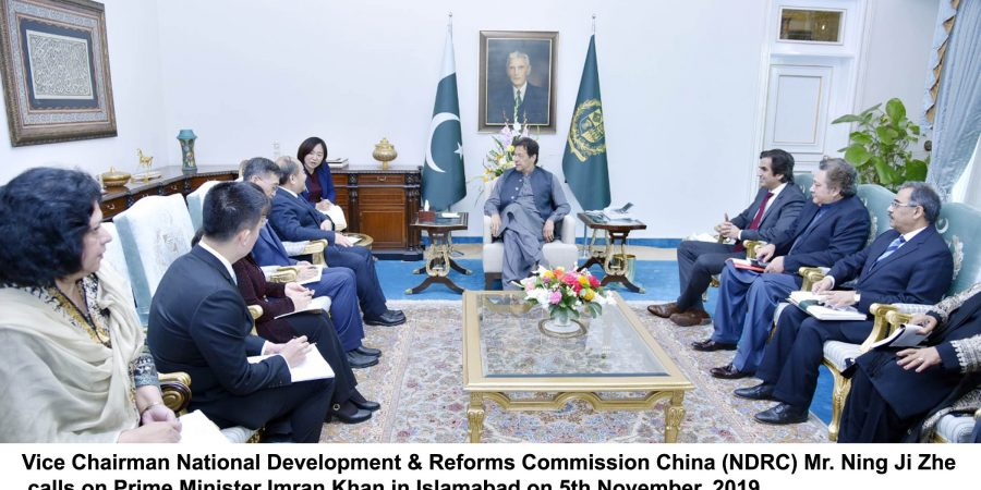 Vice Chairman National Development & Reforms Commission China (NDRC) Mr. Ning Ji Zhe calls on Prime Minister Imran Khan in Islamabad on 5th November, 2019