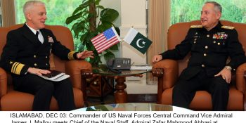 ISLAMABAD, DEC 03: Commander of US Naval Forces Central Command Vice Admiral James J. Malloy meets Chief of the Naval Staff, Admiral Zafar Mahmood Abbasi at Naval Headquarters.=DNA PHOTO