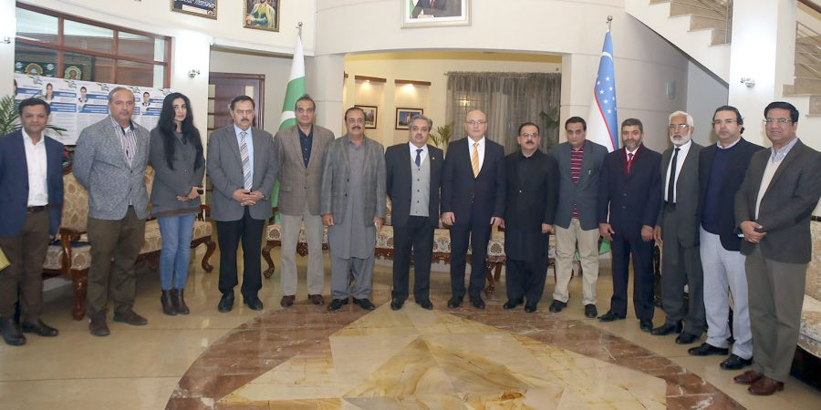 ISLAMABAD, DEC 15: Members of the Pakistani delegation heading to Uzbekistan for observing the upcoming parliamentary elections in a group photo with Ambassador of Uzbekistan Furqat Sidikov. DNA