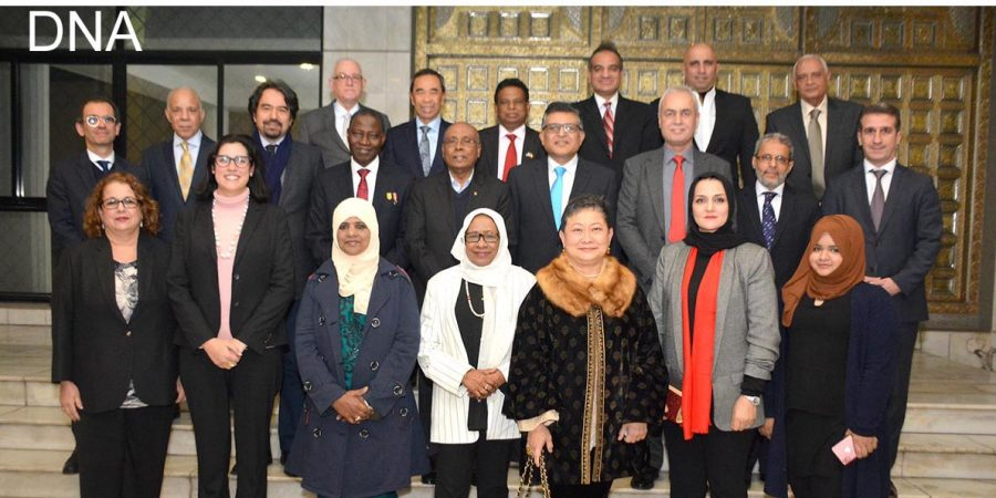 ISLAMABAD, JAN 22: Diplomats and others posing for a picture on the occasion of a reception hosted by High Commissioner of Nigeria Maj. Gen. (rtd) Ashimiyu Adebayo Olaniyi for the outgoing ambassador of Maldives Ahmed Saleem. DN