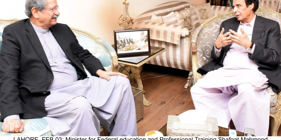 LAHORE, FEB 03: Minister for Federal education and Professional Training Shafqat Mahmood meets Speaker Punjab Assembly, Chaudhry Pervaiz.=DNA PHOTO