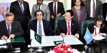 ISLAMABAD, FEB 15: Federal Minister for NFS&R, Khusro Bakhtiar and Director General of United Nations Food & Agriculture Organization, Qu Dongyu witnessing  signing of MoU between FAO & Ministry of NFS&R.=DNA PHOTO