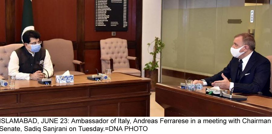 ISLAMABAD, JUNE 23: Ambassador of Italy, Andreas Ferrarese in a meeting with Chairman Senate, Sadiq Sanjrani on Tuesday.=DNA PHOTO