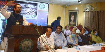 ISLAMABAD: Federal Minister Shehryar Khan Afridi addressing during Kashmir Conference organized by Jammu and Kashmir Self-Determination Movement International (JKSDMI) at NPC.