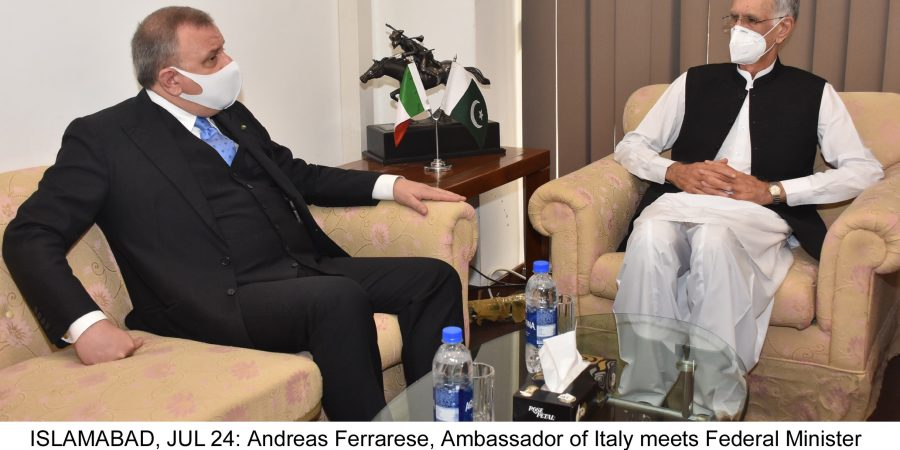ISLAMABAD, JUL 24: Andreas Ferrarese, Ambassador of Italy meets Federal Minister for Defence Pervez Khattak.=DNA PHOTO