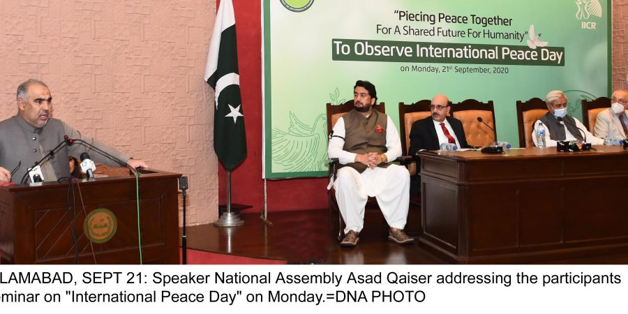 "ISLAMABAD, SEPT 21: Speaker National Assembly Asad Qaiser addressing the participants seminar on ""International Peace Day"" on Monday.=DNA PHOTO"