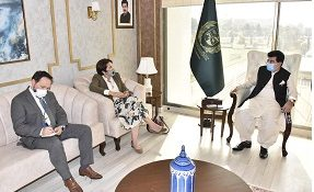 CHAIRMAN SENATE, MUHAMMAD SADIQ SANJRANI EXCHANGING VIEWS WITH AMBASSADOR OF THE EUROPEAN UNION IN PAKISTAN, MISS. ANDROULLA KAMINARA AT PARLIAMENT HOUSE ISLAMABAD ON OCTOBER 22, 2020.