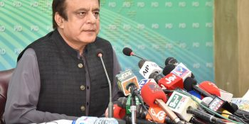 SENATOR SHIBLI FARAZ, FEDERAL MINISTER FOR INFORMATION AND BROADCASTING ADDRESSING A PRESS CONFERENCE IN ISLAMABAD ON OCTOBER 31, 2020.