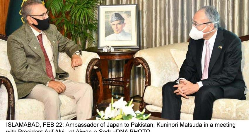 ISLAMABAD, FEB 22: Ambassador of Japan to Pakistan, Kuninori Matsuda in a meeting with President Arif Alvi , at Aiwan-e-Sadr.=DNA PHOTO